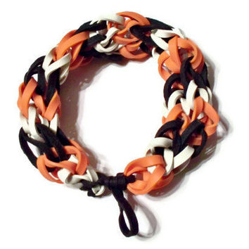 Cincinnati Bengals Sports Bracelet - Orange Black and White Rubber Bands - Baltimore Orioles, Texas Longhorns, SF Giants, Houston Astros