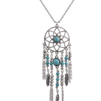 CREYXF7 Dream catcher necklace national wind chain tassel feather turquoise items Bohemian jewelry
