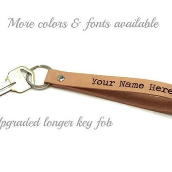 Upgraded Longer Key Fob, Personalized Key Fob, Leather Key Fob, Leather Key Chain, Gifts Under 15, Mother's Day Gift, Father's Day Gift
