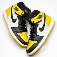 NIKE AIR JORDAN 1 Popular Women Men Casual Sport Shoes Sneakers Black&Yellow