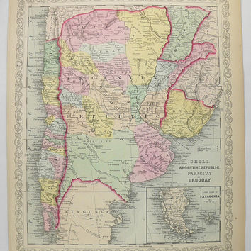 Argentina Map, Chili Uruguay Map Paraguay 1858 Mitchell DeSilver Map South America, Antique Travel Map, Couples Gift, Vintage Home Decor