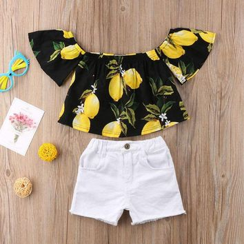 Kids Baby Girl Outfit Set Shirt T-shirt Tops+Shorts Pants Jeans Clothes US STOCK