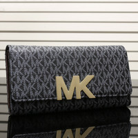 MK Women Leather Zipper Buckle Wallet Purse