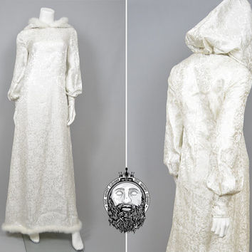 Vintage 60s Silk Brocade Marabou Feathers Silver & White Winter Wedding Dress Hood Snow Queen Medieval Wedding Bishop Sleeves Fur Gown 1960s
