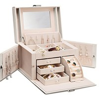 Vlando Faux Jewelry Box Organizer, White