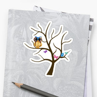 'Owl and Blue Bird' Sticker by mlswig