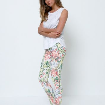 What Dreams Are Made Of Skinny Pants - White Floral