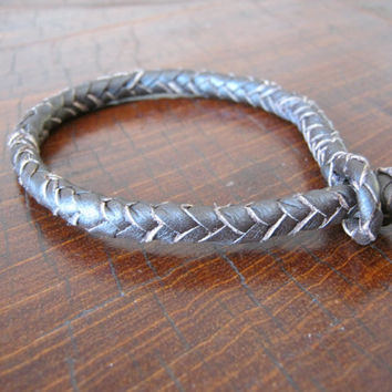 Braided Leather Bracelet 8 Strands dark brown