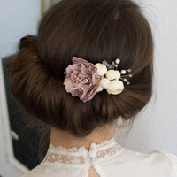 Art Floral Hair Comb, Wedding, with pastel flowers, pink