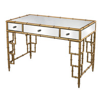Sterling Industries Mirror Top Desk With Bamboo Frame