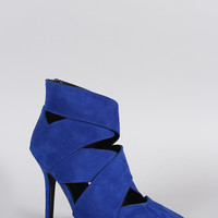 Qupid Suede Strappy Pointy Toe Stiletto Booties