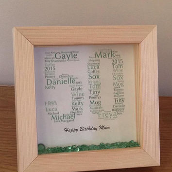 Personalised 50th birthday shadow box frame ~ word art design ~ 50th birthday gift ~ choose own wording and colours