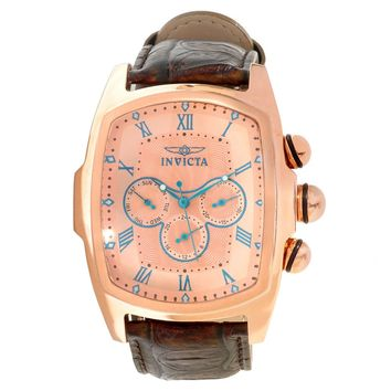 Invicta 12644 Men's Lupah Rose Gold Dial Rose Gold Steel Interchangeable Leather Strap Watch