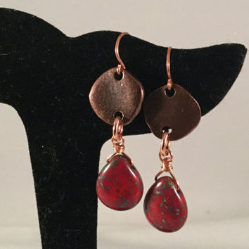 Ruby Red Teardrop earrings, Czech glass earrings, copper coin, wire wrapped, tranquil, zen, minimal