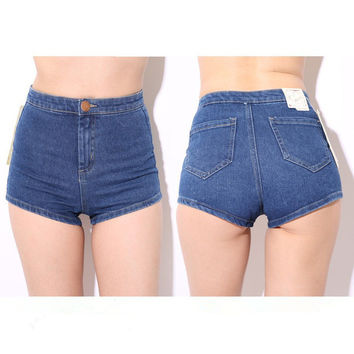 Skinny Stretchy High Waisted Shorts / Denim Shorts For Summer: All Sizes