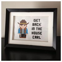 The Walking Dead Carl Cross Stitch Picture Framed by K8BitHero