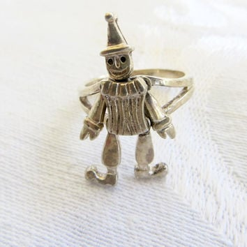 Vintage Clown Ring Sterling Dancing Clown Movable Arms Legs Head, Handcrafted Artisan Ring Size 6