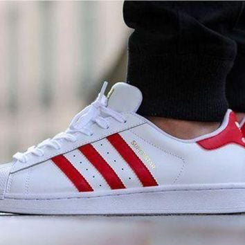 DCCK8X2 Originals Adidas Superstar Men's Women's Classic Sneaker Sprot Shoes White/Red - B2713