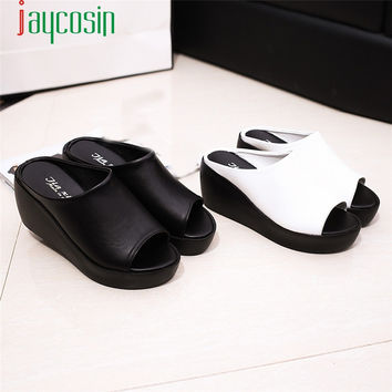 Hot Sale Women Summer Fashion Leisure Fish Mouth Sandals Thick Bottom Slippers #0329