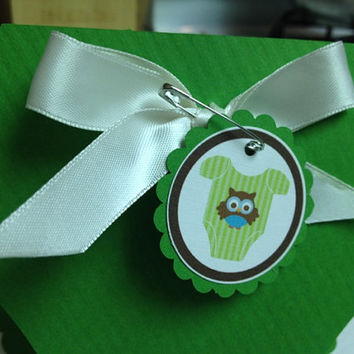 25 Green Baby OWL Boy Shower Diaper by PaperDivaInvitations