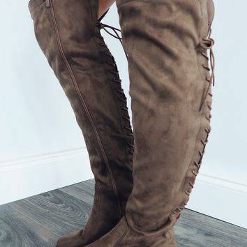Tied To Your Heart Boots: Taupe