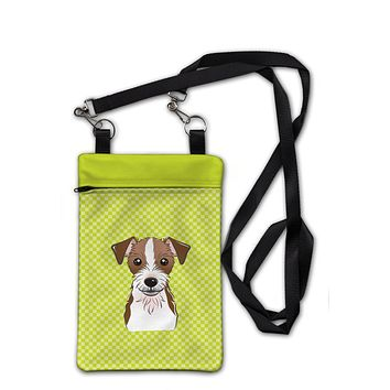 Checkerboard Lime Green Jack Russell Terrier Crossbody Bag Purse BB1264OBDY