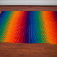 Vintage Wool Rainbow Blanket 1960s Hippie Boho Throw Blanket Rug Fringe Striped 60s Bohemian Textile Woven Bright Colorful Mexican Southwest
