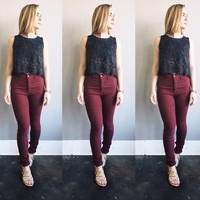 A High Waisted Skinny in Wine