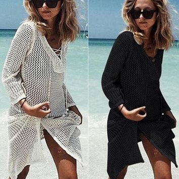 Womens Strap Knitted Swimwear Beachwear Bikini Beach Wear Cover Up