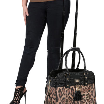 "ON SALE -- ""THE LONDON"" Leopard Rolling iPad, Tablet or Laptop Tote Briefcase Carryall Bag"