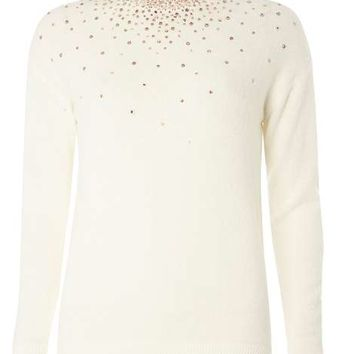 Ivory Rose Gold Scatter Jumper - Sweaters - Clothing