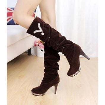 Martin boots shoes women snow winter motorcycle boots high heel shoes with round head high boots