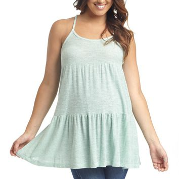 Mint Green Knit Layered Cross Back Maternity Tank Top