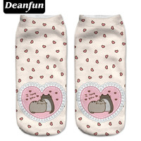 Deanfun New 3D Printed Pusheen Love Women Socks Cute Low Cut Ankle Sock Multiple Cartons Fashion Style NW08