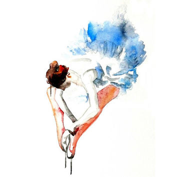 Ballet dance Ballerina ART PRINT 12X16 original watercolor painting illustration home wall decor  modern contemporary reproduction poster