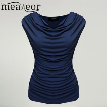 Meaneor Women Cowl Neck T-shirts tops women Sleeveless t-shirt tops Ruched Slim t-shirt Navy Blue Solid tops summer 2017 S-XL