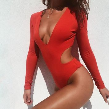 Sexy One Piece Swimsuit Women 2019 New Solid Long Sleeve Swimwear Beach Bathing Suit Brazilian Bikini Deep V Neck Monokini
