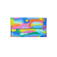 Rainbow Leather Hand Sewn Wallet, Small Coin Purse Bag, Card Holder | Boo and Boo Factory - Handmade Leather Jewelry