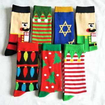 New Christmas Series Full Man Fashion casual Personality Cartoon Sweat Pure Cotton happy art Socks men hip hop dress