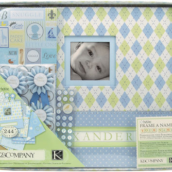 "K&Company Post Bound Scrapbook Kit Boxed 12""""X12""""-Little House Baby Boy"