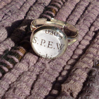 "Harry Potter Jewelry- ""S.P.E.W"" Book Page Jewelry, Silver Ring"