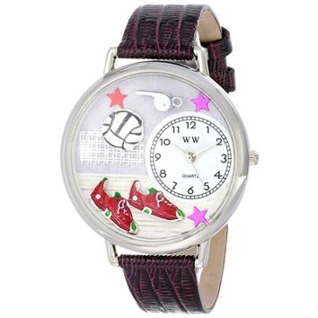 SheilaShrubs.com: Unisex Volleyball Purple Leather Watch U-0820013 by Whimsical Watches: Watches
