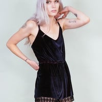 Led Astray - Color changing velvet jumper with tap shorts and lace trim