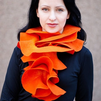 Handmade felted Orange Long ruffle scarf  Pumpkin by ProninA