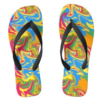 psychedelic play-dough swirling pattern flip flops | Zazzle.co.uk