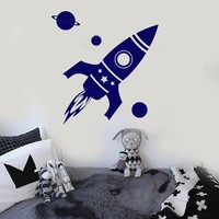 Vinyl Wall Decal Rocket Space Planet Kids Room Stickers Unique Gift (ig4153)