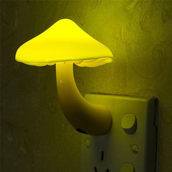 EU US Plug Mushroom Wall Socket Lights Light-controlled Sensor LED Night Light Lamp for Bedroom Kids Child Baby Room Decor