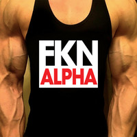 FKN ALPHA, Workout Tank, Mens Workout Tank,Mens Gym Shirt, Mens Gym Tank, Workout Clothes for Men,Muscle Tee, Mens Fitness Tank