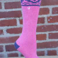 Terry Sock by BearPaw {Pink with Aztec Pattern}