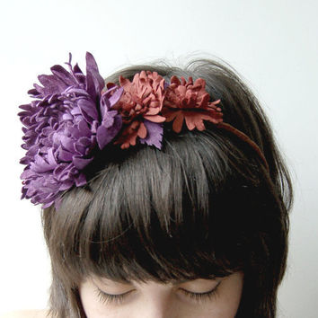 Purple and coral leather floral headband